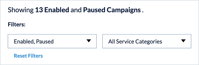 Campaigns Filter